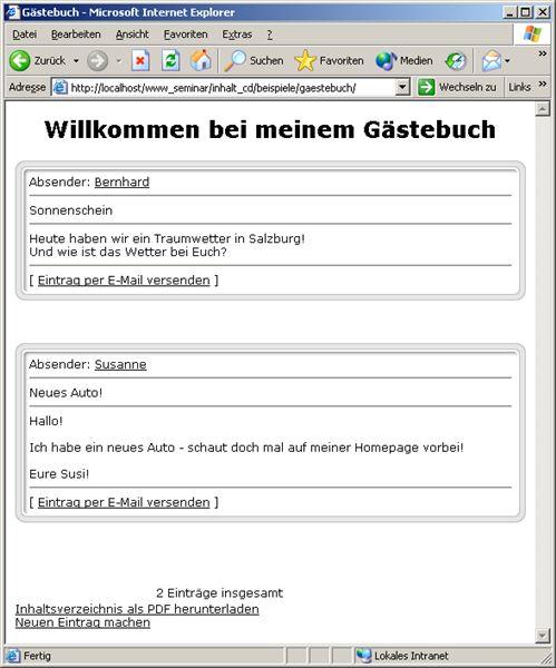 Index des gästebuchs